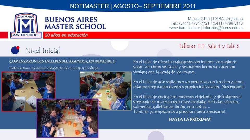 20 años en educación Moldes 2160 | CABA | Argentina Tel.: (5411) 4781-7721 / (5411) 4788-3110 www.bams.edu.ar | informes@bams.edu.ar Nivel Primario 1er Grado Durante el mes de Agosto estuvimos trabajando sobre el proyecto Aprendiendo con la ciencia.