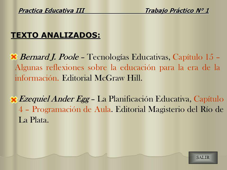 Ezequiel Ander Egg – La Planificación Educativa, Capítulo 4 – Programación de Aula. Editorial Magisterio del Río de La Plata. Bernard J. Poole – Tecno
