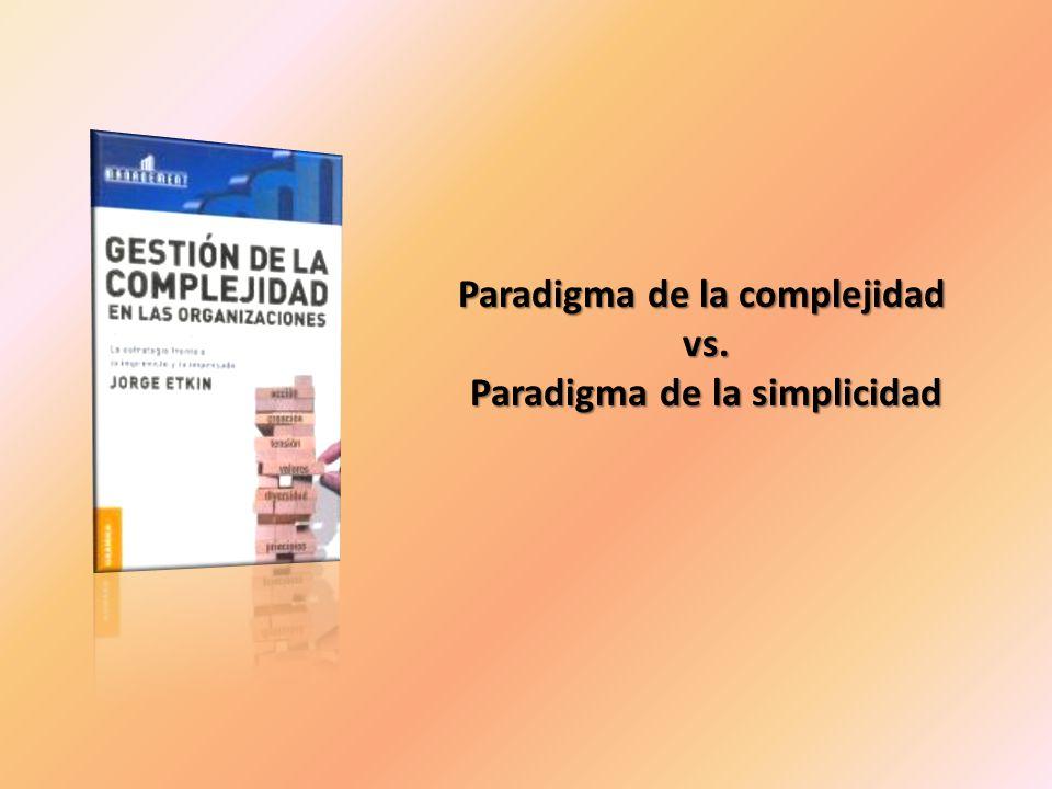 Paradigma de la complejidad vs. vs. Paradigma de la simplicidad Paradigma de la simplicidad