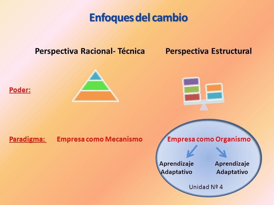 Enfoques del cambio Perspectiva Racional- TécnicaPerspectiva Estructural Paradigma: Empresa como Mecanismo Empresa como Organismo Poder: Aprendizaje A
