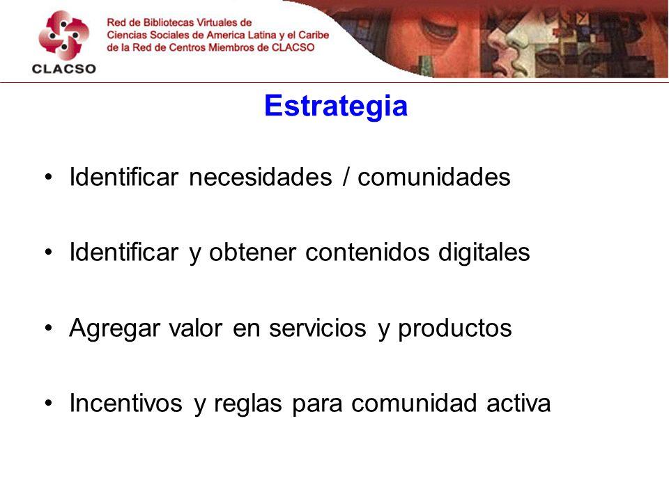 Estrategia Identificar necesidades / comunidades Identificar y obtener contenidos digitales Agregar valor en servicios y productos Incentivos y reglas para comunidad activa