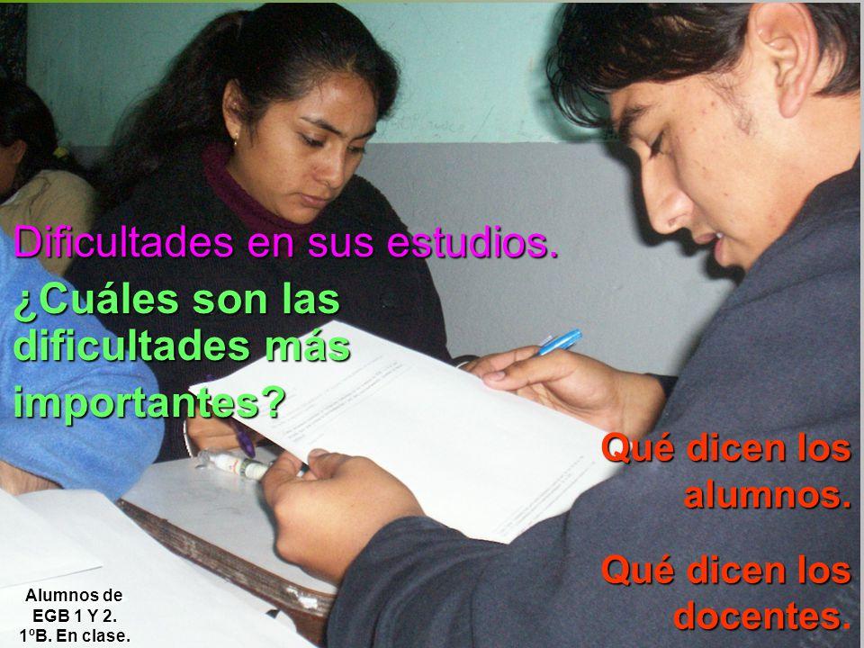 Dificultades en sus estudios. ¿Cuáles son las dificultades más importantes? Qué dicen los alumnos. Qué dicen los docentes. Alumnos de EGB 1 Y 2. 1ºB.