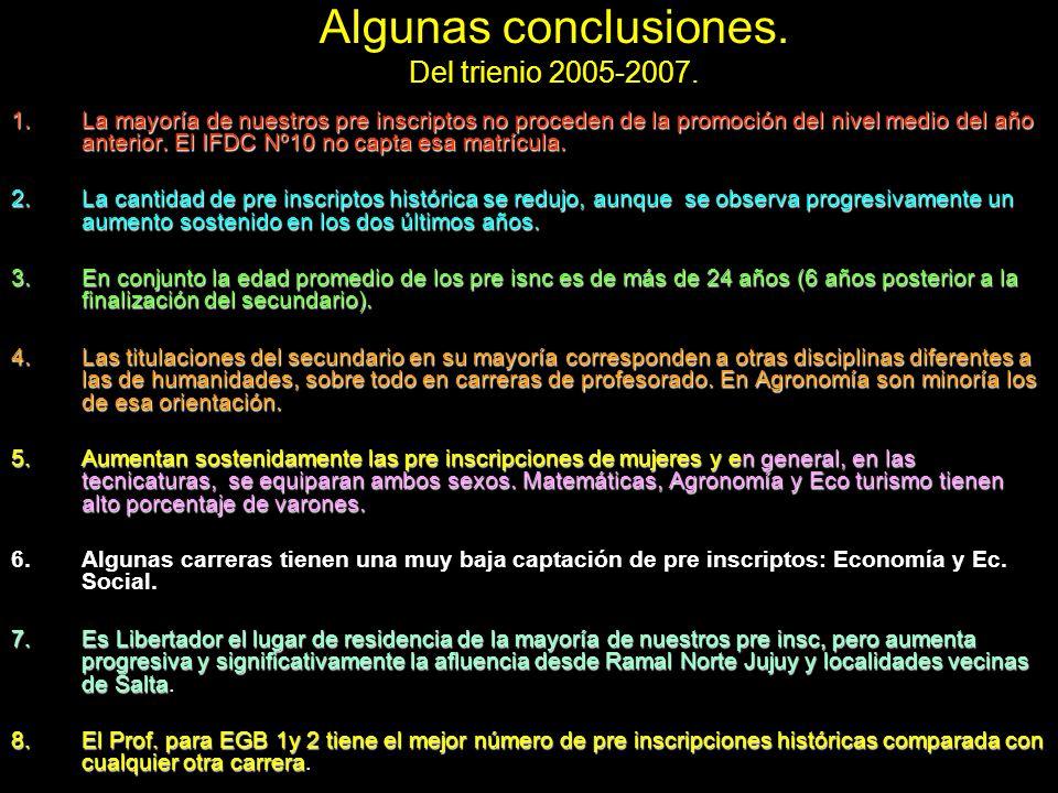 Algunas conclusiones. Del trienio 2005-2007.