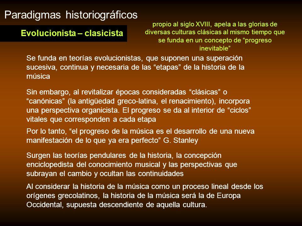 Cambios en la Historiografía Musical en el siglo XX Pero básicamente podemos agrupar los estudios a partir de dos categorías rectoras: En la historia de la música se han dado múltiples enfoques que recibieron las influencias tanto del modelo positivista como de los modelos críticos