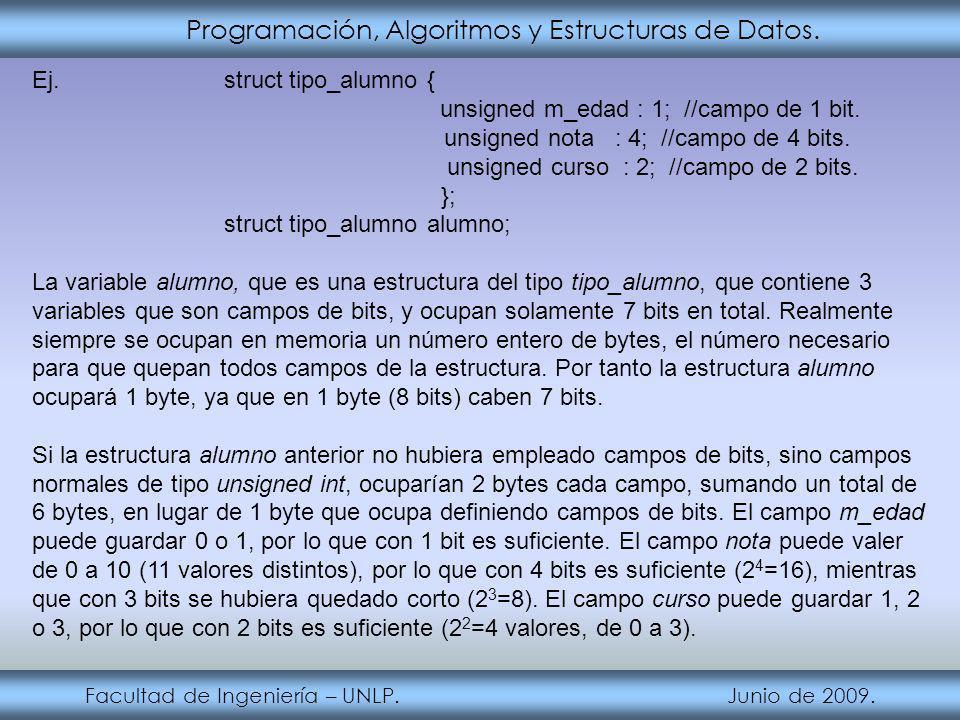 Programación, Algoritmos y Estructuras de Datos.Facultad de Ingeniería – UNLP.