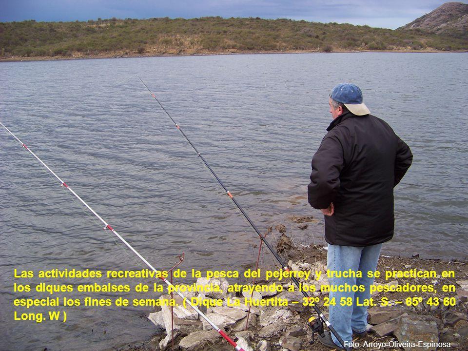 Las actividades recreativas de la pesca del pejerrey y trucha se practican en los diques embalses de la provincia, atrayendo a los muchos pescadores, en especial los fines de semana.