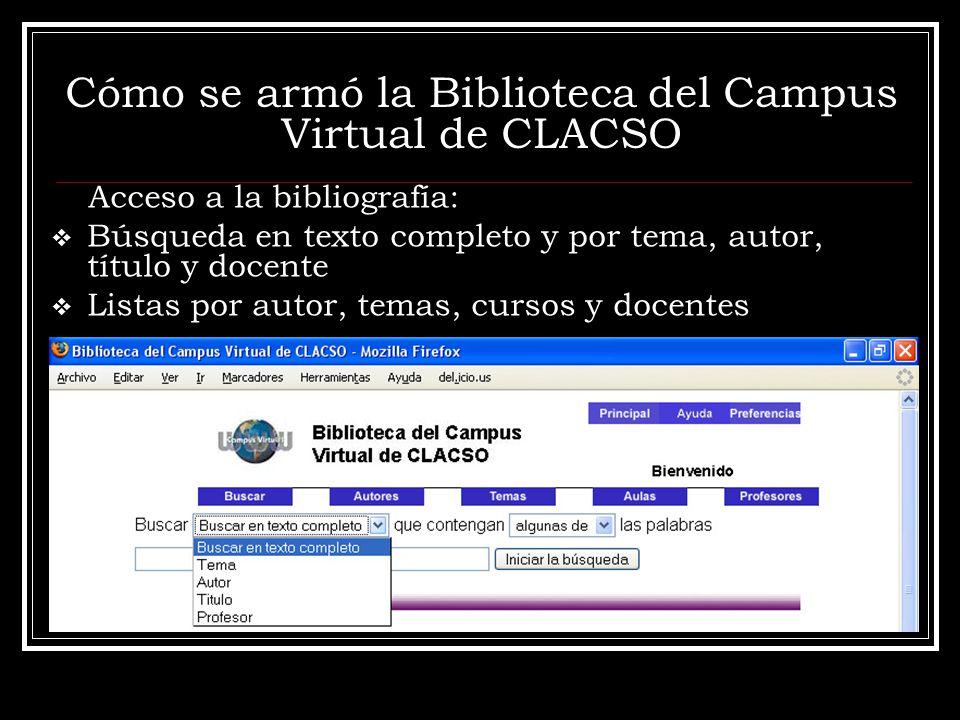 Cómo se armó la Biblioteca del Campus Virtual de CLACSO Acceso a la bibliografía: Búsqueda en texto completo y por tema, autor, título y docente Listas por autor, temas, cursos y docentes