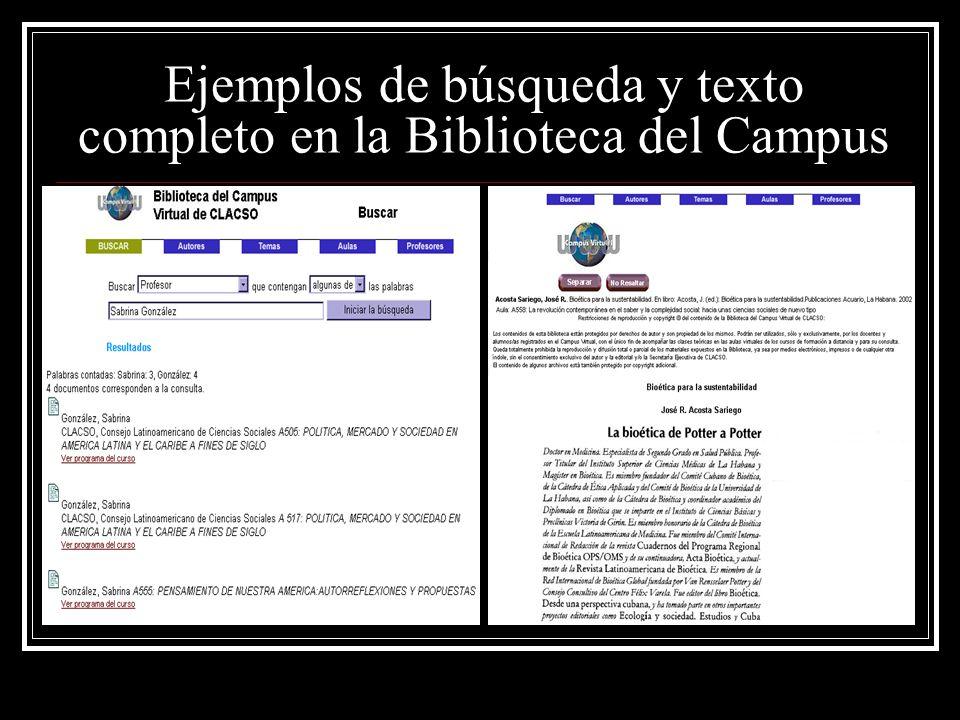 Ejemplos de búsqueda y texto completo en la Biblioteca del Campus