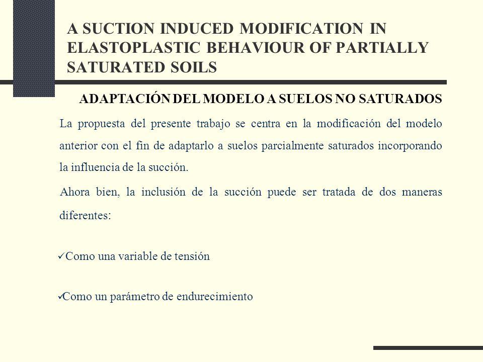 La propuesta del presente trabajo se centra en la modificación del modelo anterior con el fin de adaptarlo a suelos parcialmente saturados incorporando la influencia de la succión.