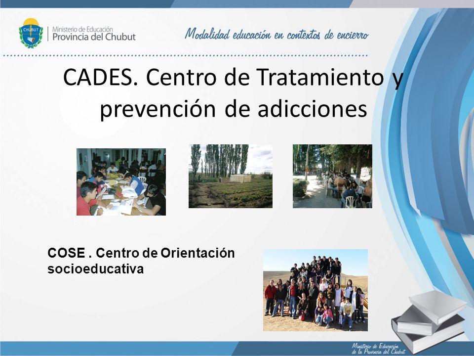 CADES. Centro de Tratamiento y prevención de adicciones COSE. Centro de Orientación socioeducativa