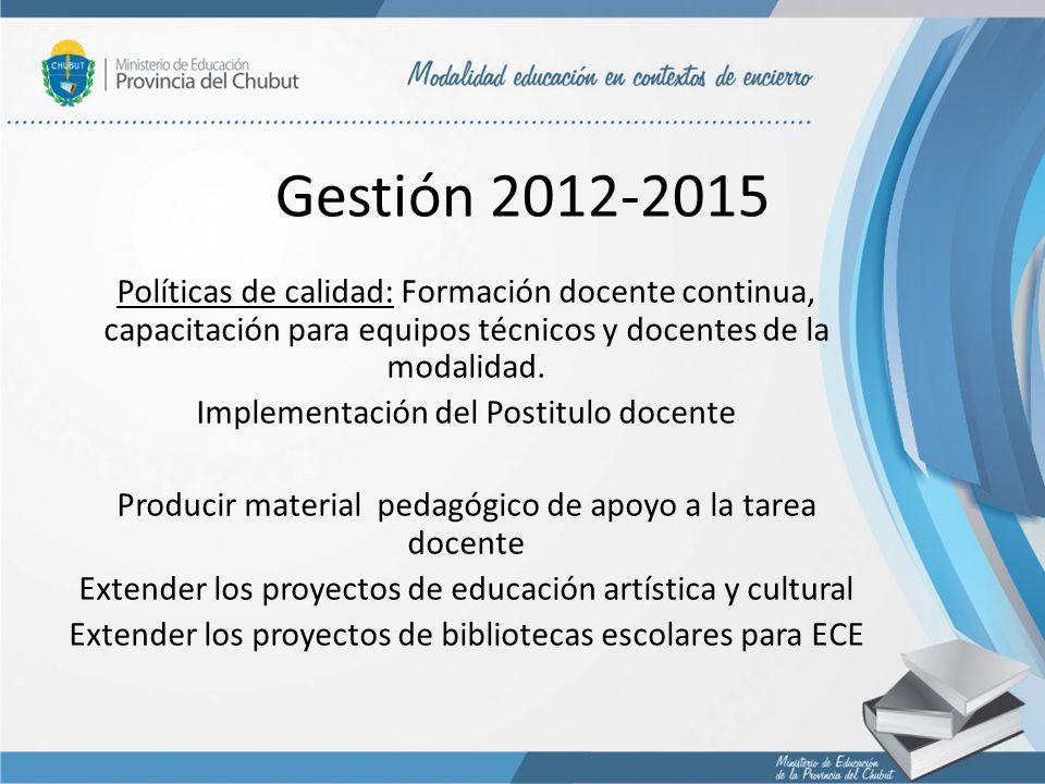 Gestión 2012-2015 Políticas de calidad: Formación docente continua, capacitación para equipos técnicos y docentes de la modalidad. Implementación del