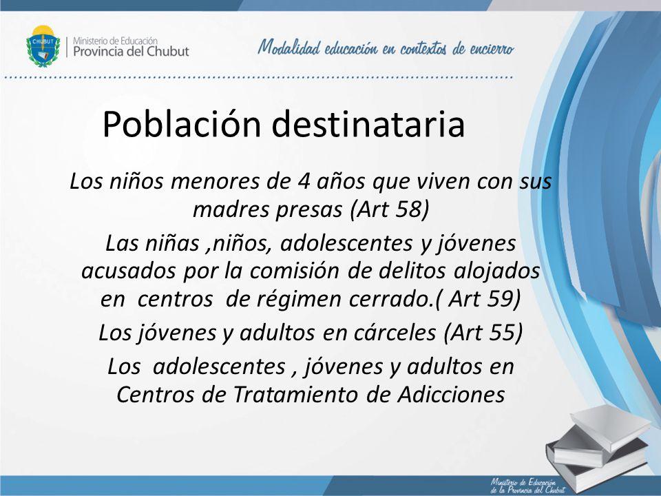 Población destinataria Los niños menores de 4 años que viven con sus madres presas (Art 58) Las niñas,niños, adolescentes y jóvenes acusados por la co