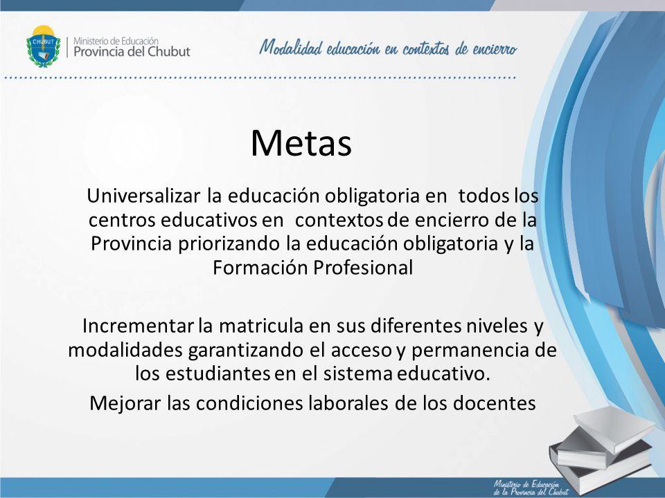 Metas Universalizar la educación obligatoria en todos los centros educativos en contextos de encierro de la Provincia priorizando la educación obligat