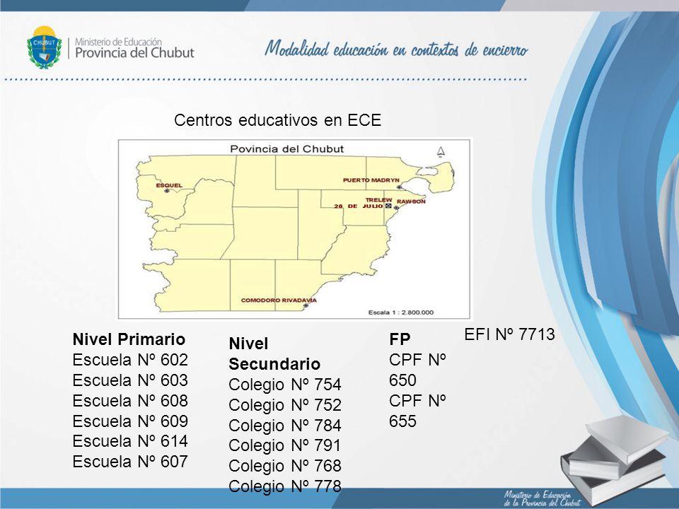 Centros educativos en ECE Nivel Primario Escuela Nº 602 Escuela Nº 603 Escuela Nº 608 Escuela Nº 609 Escuela Nº 614 Escuela Nº 607 Nivel Secundario Co