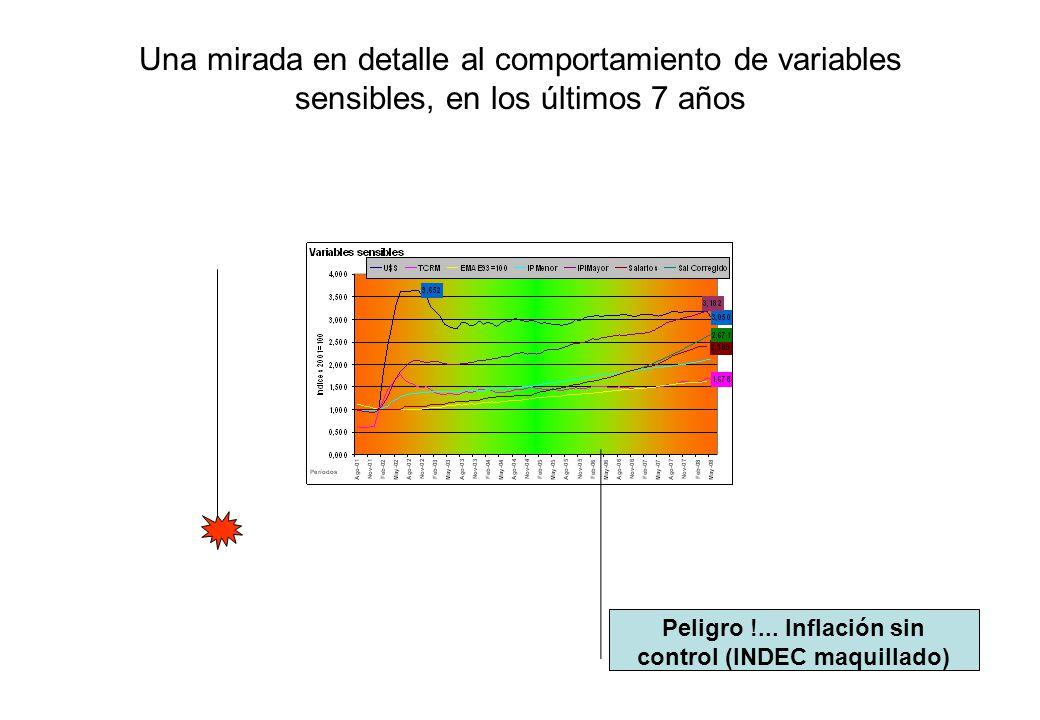 Una mirada en detalle al comportamiento de variables sensibles, en los últimos 7 años Peligro !... Inflación sin control (INDEC maquillado)