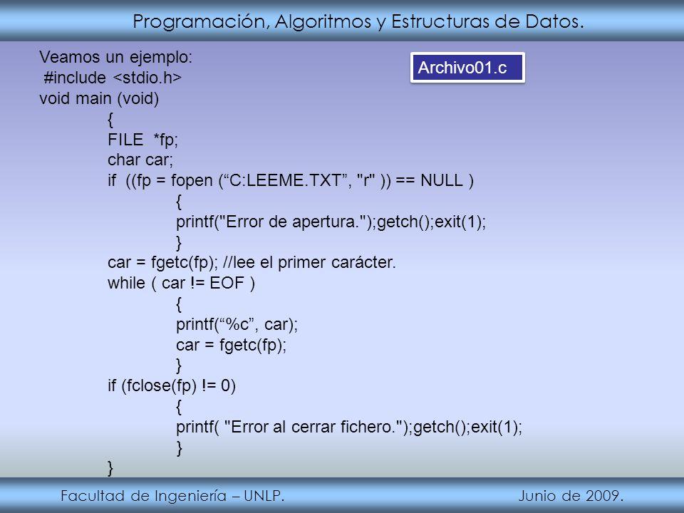 Programación, Algoritmos y Estructuras de Datos. Facultad de Ingeniería – UNLP. Junio de 2009. Veamos un ejemplo: #include void main (void) { FILE *fp