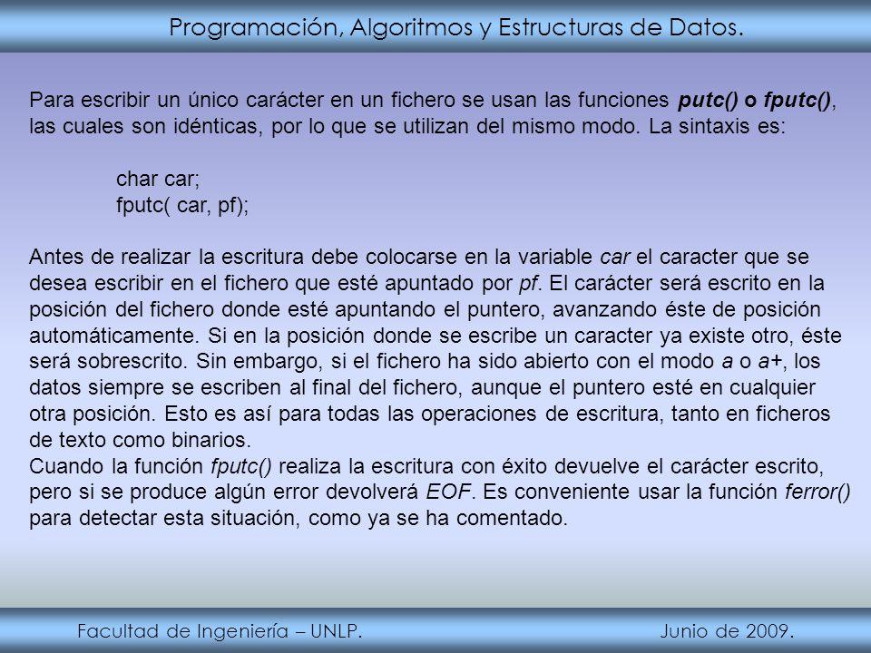Programación, Algoritmos y Estructuras de Datos. Facultad de Ingeniería – UNLP. Junio de 2009. Para escribir un único carácter en un fichero se usan l