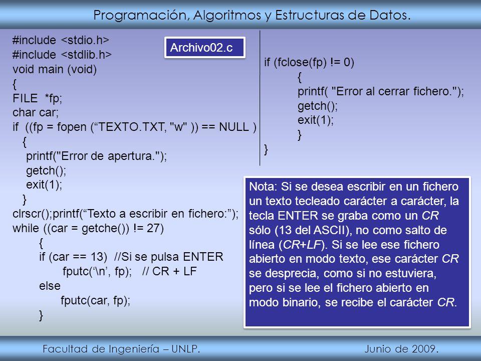 Programación, Algoritmos y Estructuras de Datos. Facultad de Ingeniería – UNLP. Junio de 2009. #include void main (void) { FILE *fp; char car; if ((fp