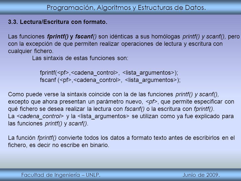 Programación, Algoritmos y Estructuras de Datos. Facultad de Ingeniería – UNLP. Junio de 2009. 3.3. Lectura/Escritura con formato. Las funciones fprin