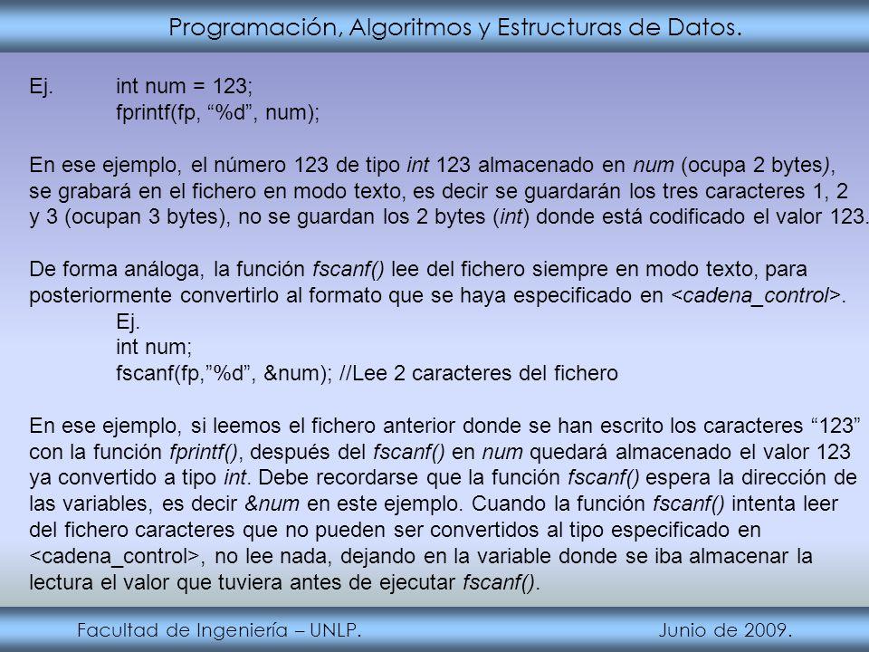 Programación, Algoritmos y Estructuras de Datos. Facultad de Ingeniería – UNLP. Junio de 2009. Ej.int num = 123; fprintf(fp, %d, num); En ese ejemplo,