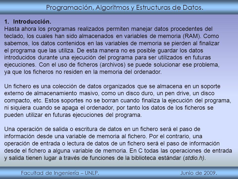 Programación, Algoritmos y Estructuras de Datos. Facultad de Ingeniería – UNLP. Junio de 2009. 1.Introducción. Hasta ahora los programas realizados pe