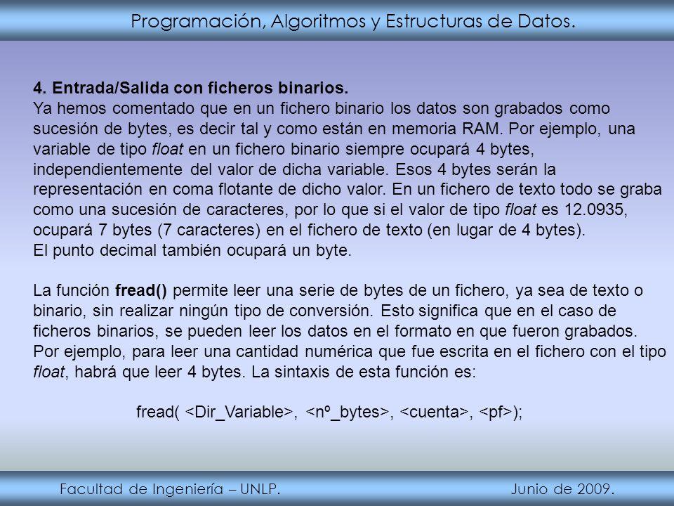 Programación, Algoritmos y Estructuras de Datos. Facultad de Ingeniería – UNLP. Junio de 2009. 4. Entrada/Salida con ficheros binarios. Ya hemos comen