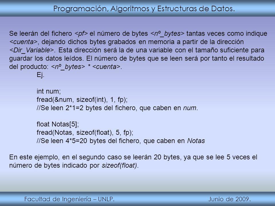 Programación, Algoritmos y Estructuras de Datos. Facultad de Ingeniería – UNLP. Junio de 2009. Se leerán del fichero el número de bytes tantas veces c