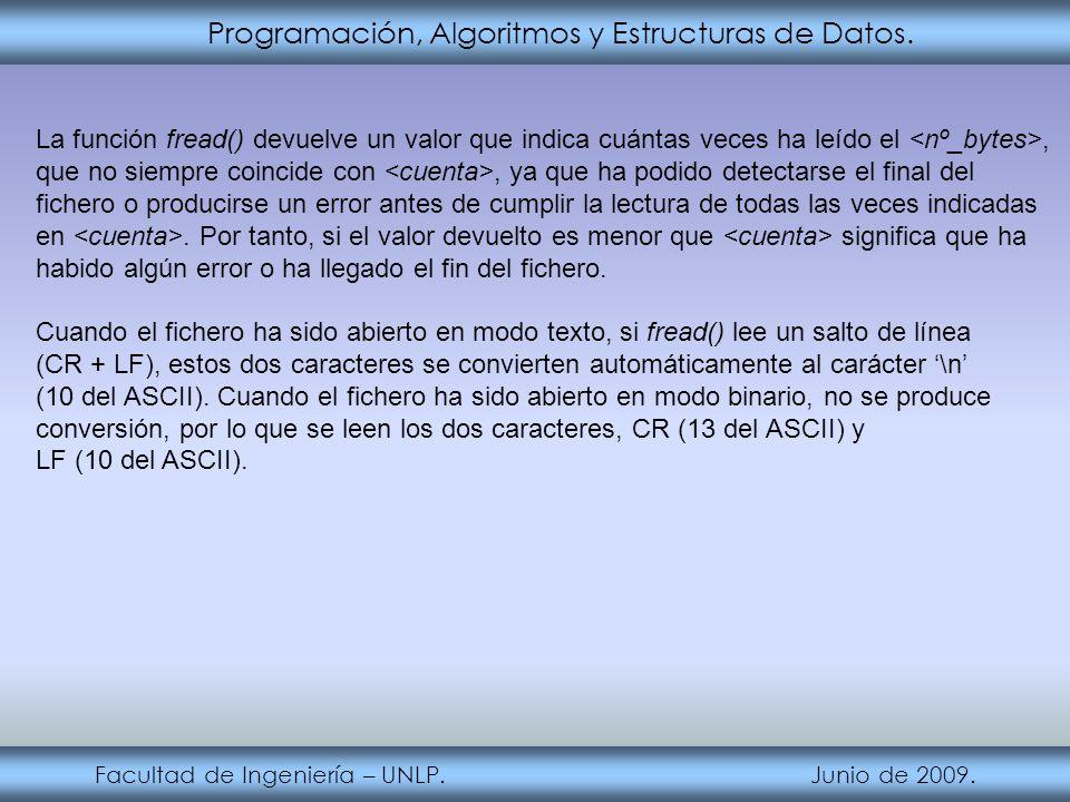 Programación, Algoritmos y Estructuras de Datos. Facultad de Ingeniería – UNLP. Junio de 2009. La función fread() devuelve un valor que indica cuántas