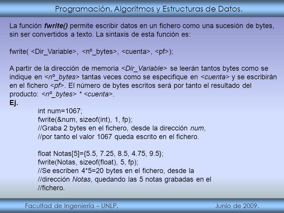 Programación, Algoritmos y Estructuras de Datos. Facultad de Ingeniería – UNLP. Junio de 2009. La función fwrite() permite escribir datos en un ficher