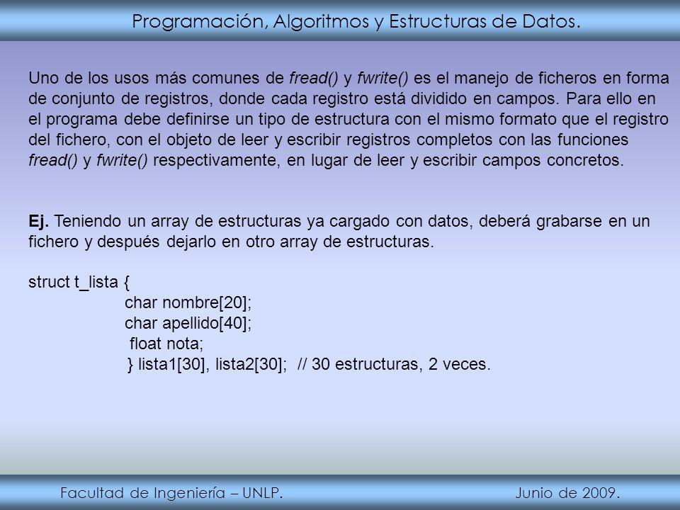 Programación, Algoritmos y Estructuras de Datos. Facultad de Ingeniería – UNLP. Junio de 2009. Uno de los usos más comunes de fread() y fwrite() es el