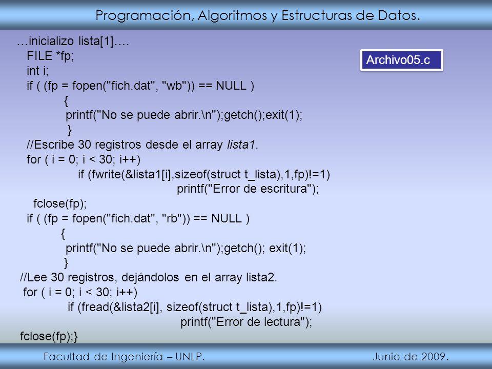 Programación, Algoritmos y Estructuras de Datos. Facultad de Ingeniería – UNLP. Junio de 2009. …inicializo lista[1]…. FILE *fp; int i; if ( (fp = fope