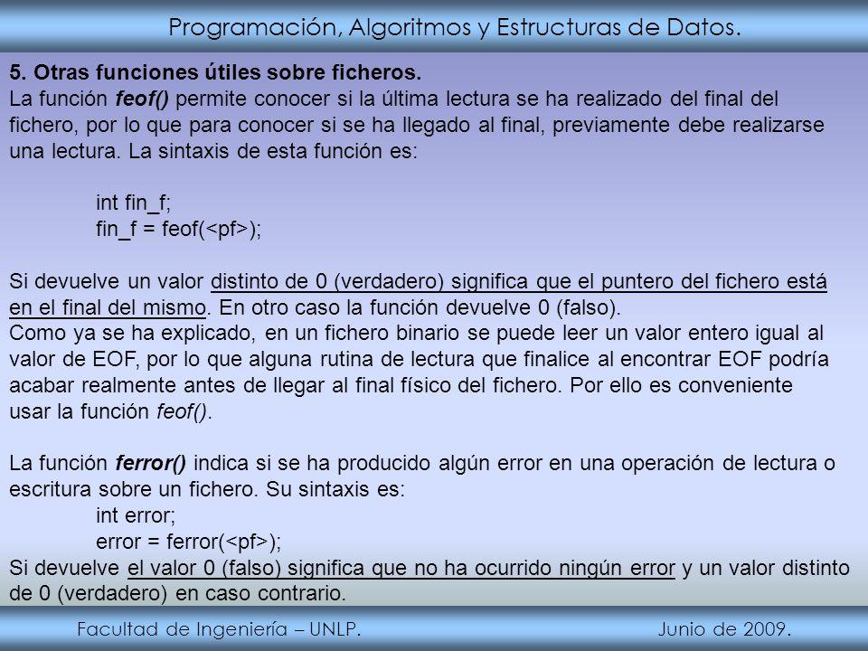 Programación, Algoritmos y Estructuras de Datos. Facultad de Ingeniería – UNLP. Junio de 2009. 5. Otras funciones útiles sobre ficheros. La función fe