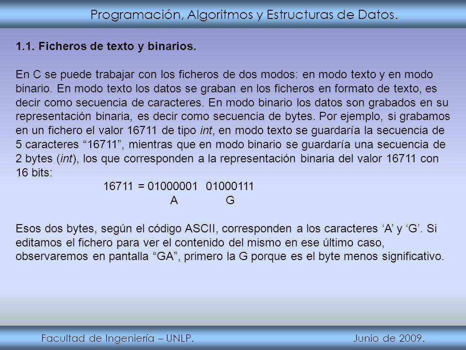 Programación, Algoritmos y Estructuras de Datos. Facultad de Ingeniería – UNLP. Junio de 2009. 1.1. Ficheros de texto y binarios. En C se puede trabaj