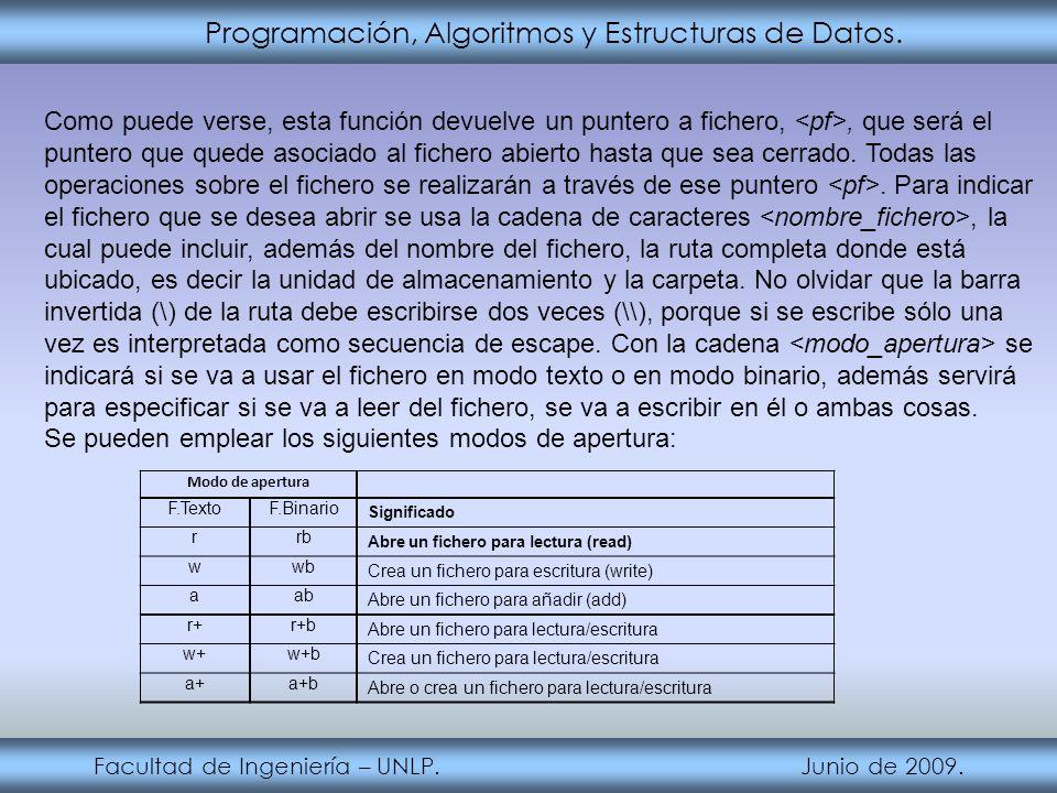 Programación, Algoritmos y Estructuras de Datos. Facultad de Ingeniería – UNLP. Junio de 2009. Como puede verse, esta función devuelve un puntero a fi