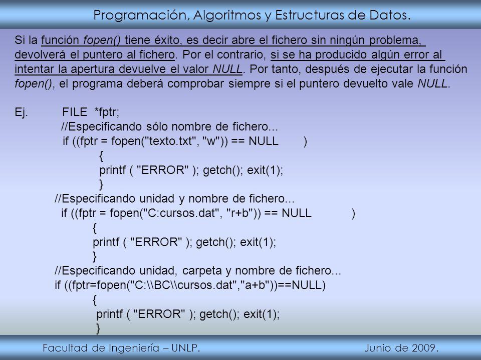Programación, Algoritmos y Estructuras de Datos. Facultad de Ingeniería – UNLP. Junio de 2009. Si la función fopen() tiene éxito, es decir abre el fic