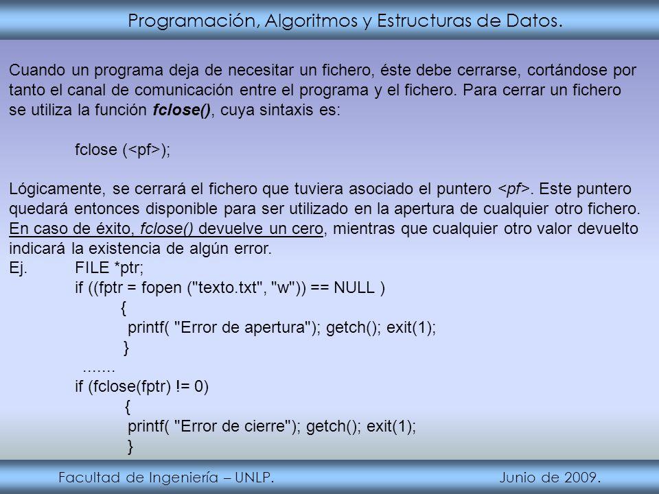 Programación, Algoritmos y Estructuras de Datos. Facultad de Ingeniería – UNLP. Junio de 2009. Cuando un programa deja de necesitar un fichero, éste d