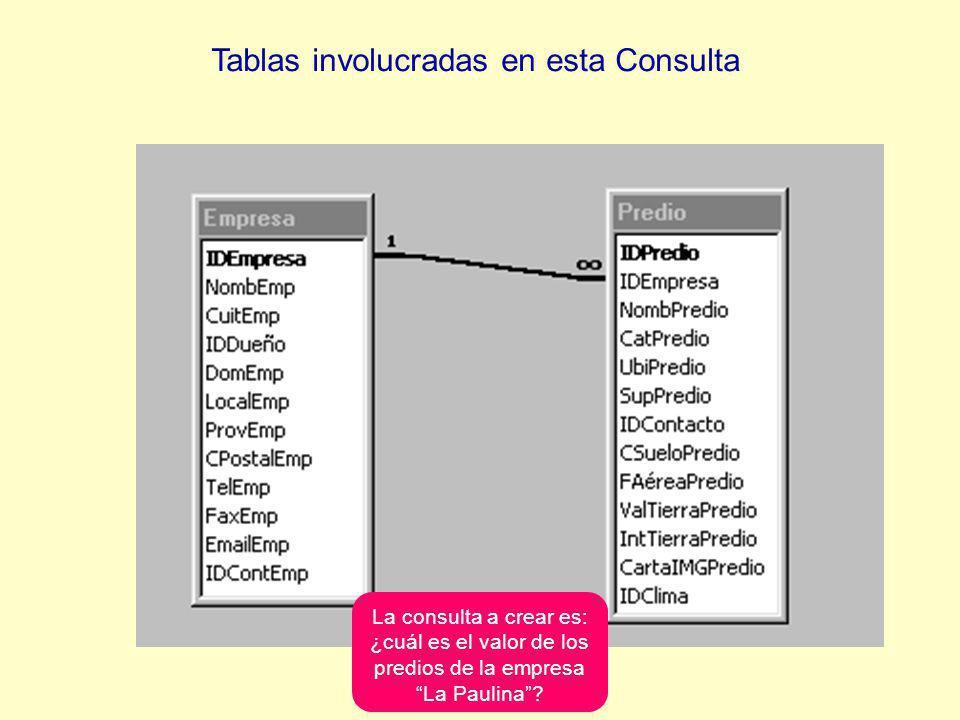Tablas involucradas en esta Consulta La consulta a crear es: ¿cuál es el valor de los predios de la empresa La Paulina