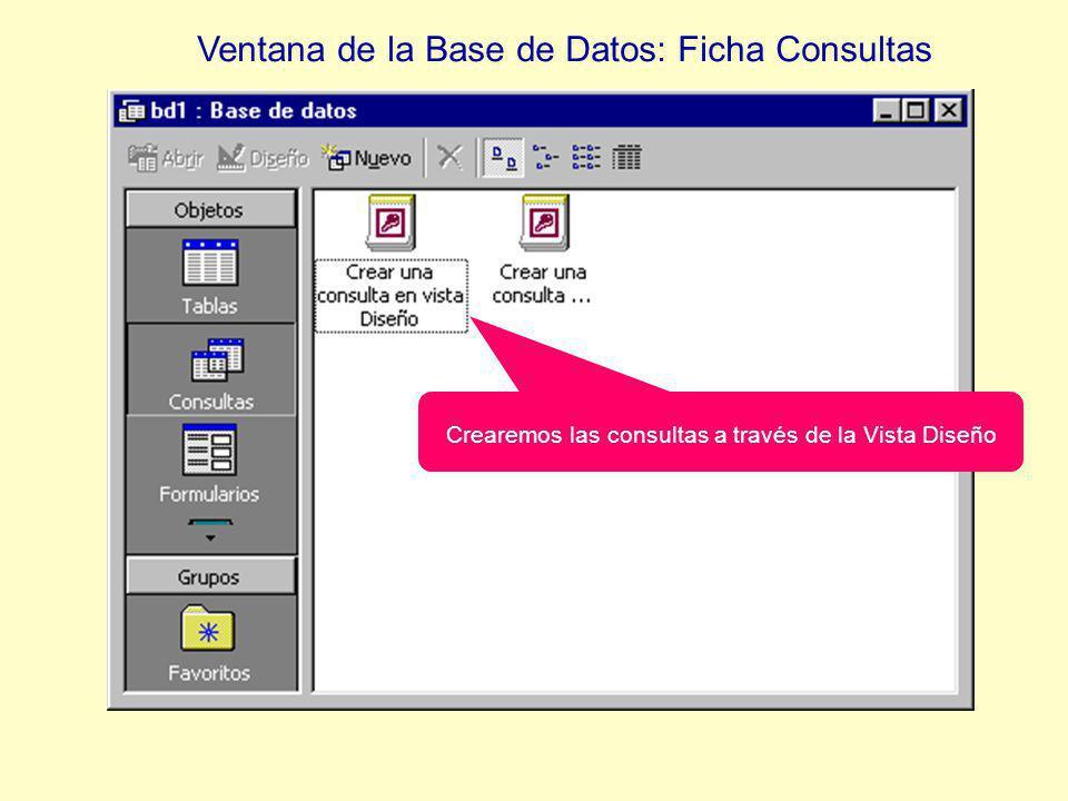 Ventana de la Base de Datos: Ficha Consultas Crearemos las consultas a través de la Vista Diseño