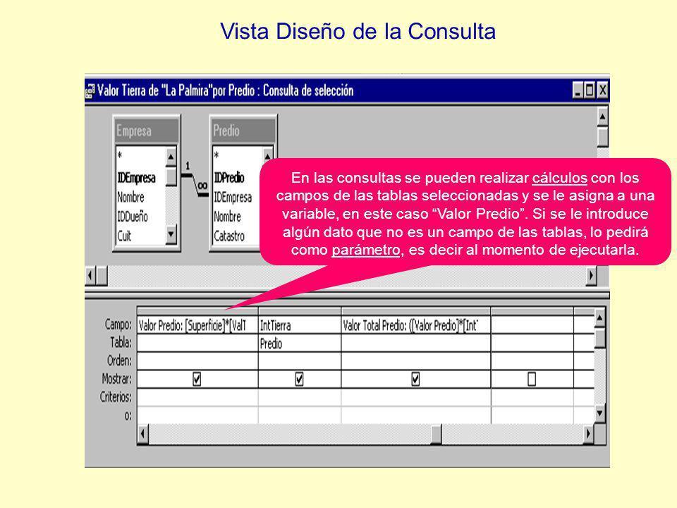 En las consultas se pueden realizar cálculos con los campos de las tablas seleccionadas y se le asigna a una variable, en este caso Valor Predio.