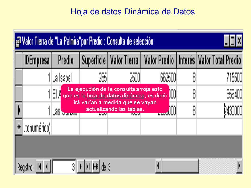 La ejecución de la consulta arroja esto que es la hoja de datos dinámica, es decir irá varían a medida que se vayan actualizando las tablas.