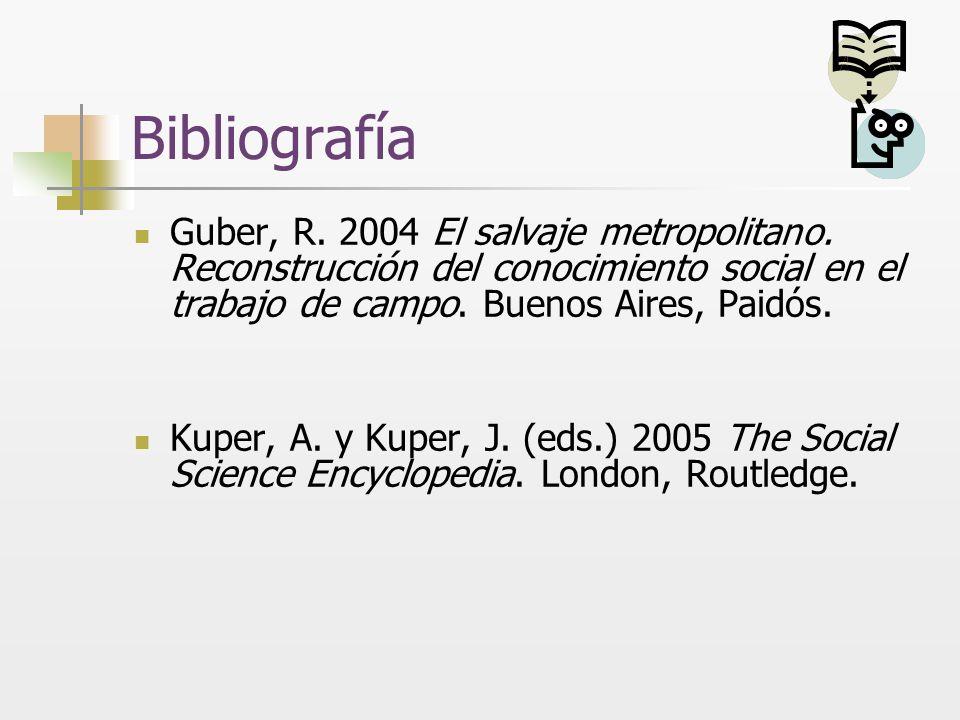 Bibliografía Guber, R. 2004 El salvaje metropolitano. Reconstrucción del conocimiento social en el trabajo de campo. Buenos Aires, Paidós. Kuper, A. y