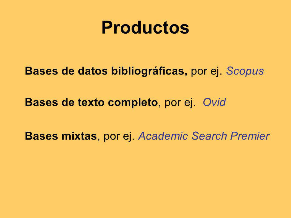 Productos Bases de datos bibliográficas, por ej. Scopus Bases de texto completo, por ej.