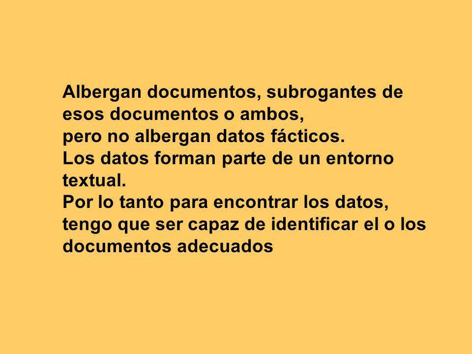 Albergan documentos, subrogantes de esos documentos o ambos, pero no albergan datos fácticos.