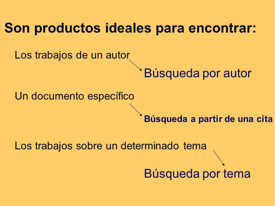 Son productos ideales para encontrar: Los trabajos de un autor Un documento específico Los trabajos sobre un determinado tema Búsqueda por autor Búsqueda a partir de una cita Búsqueda por tema