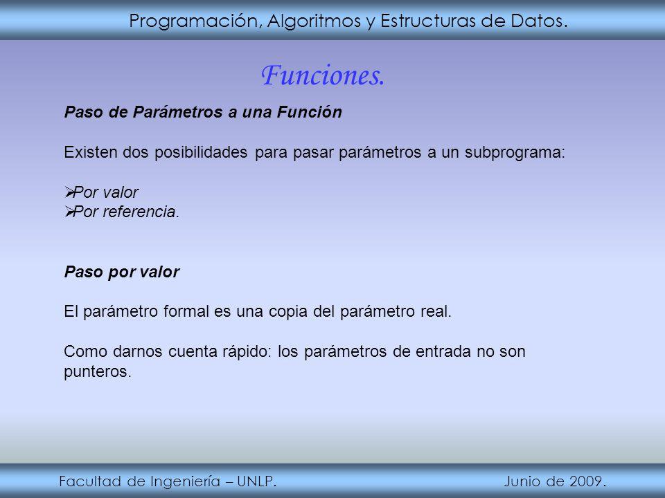 Programación, Algoritmos y Estructuras de Datos. Facultad de Ingeniería – UNLP. Junio de 2009. Funciones. Paso de Parámetros a una Función Existen dos