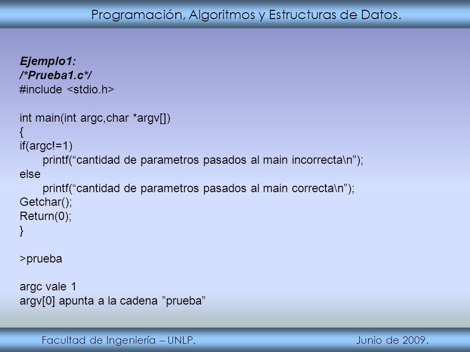 Programación, Algoritmos y Estructuras de Datos. Facultad de Ingeniería – UNLP. Junio de 2009. Ejemplo1: /*Prueba1.c*/ #include int main(int argc,char