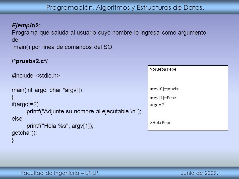 Programación, Algoritmos y Estructuras de Datos. Facultad de Ingeniería – UNLP. Junio de 2009. Ejemplo2: Programa que saluda al usuario cuyo nombre lo