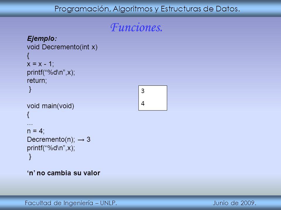 Programación, Algoritmos y Estructuras de Datos. Facultad de Ingeniería – UNLP. Junio de 2009. Funciones. Ejemplo: void Decremento(int x) { x = x - 1;