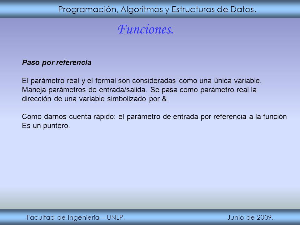 Programación, Algoritmos y Estructuras de Datos. Facultad de Ingeniería – UNLP. Junio de 2009. Funciones. Paso por referencia El parámetro real y el f