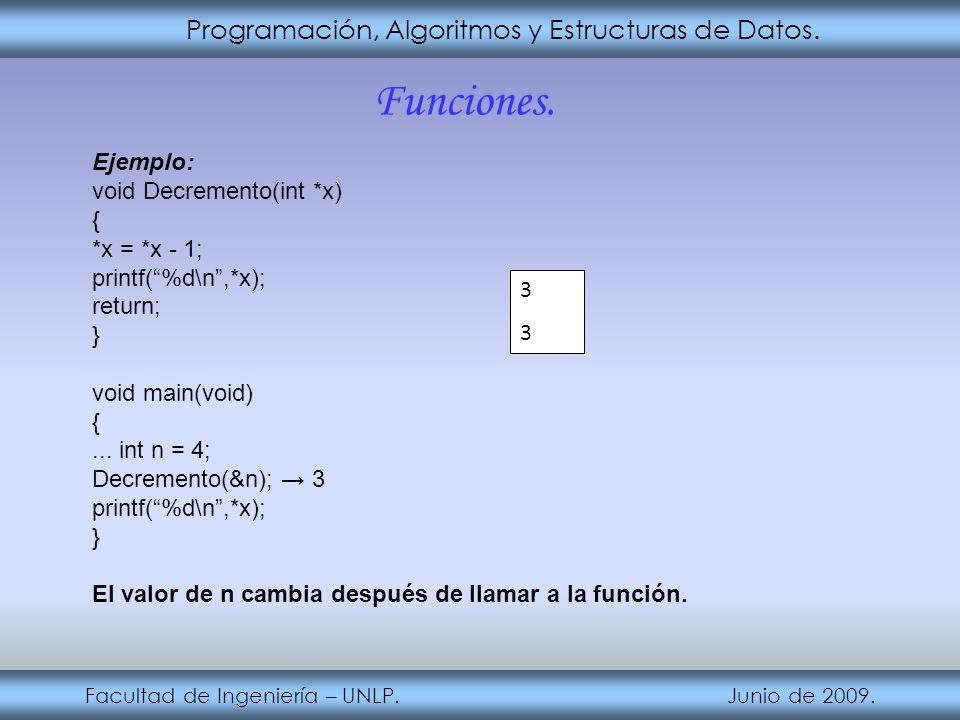 Programación, Algoritmos y Estructuras de Datos. Facultad de Ingeniería – UNLP. Junio de 2009. Funciones. Ejemplo: void Decremento(int *x) { *x = *x -